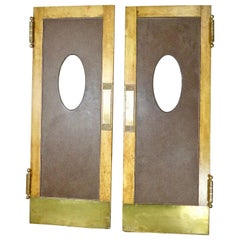 1930s Pair of Oak Swing Doors with Original Brass Hardware