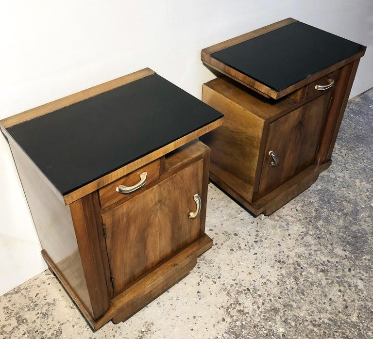 Art Deco 1930's Pair of Original Italian Deco Nightstands Walnut, Black Glass For Sale