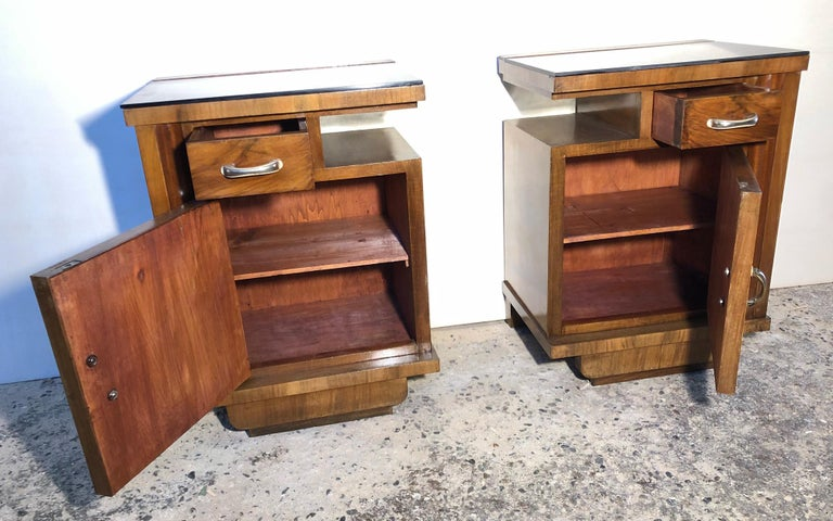Mid-20th Century 1930's Pair of Original Italian Deco Nightstands Walnut, Black Glass For Sale
