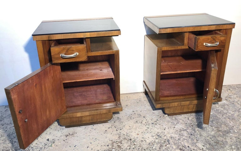 1930's Pair of Original Italian Deco Nightstands Walnut, Black Glass For Sale 1