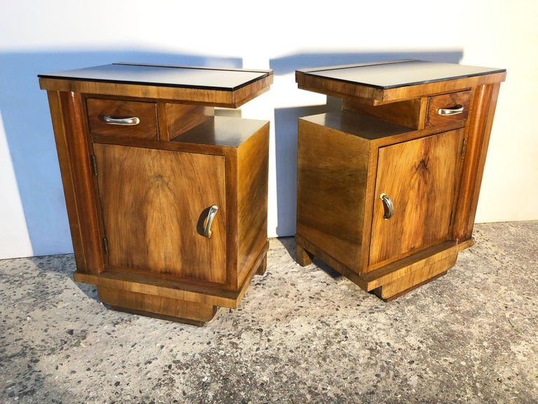 1930's Pair of Original Italian Deco Nightstands Walnut, Black Glass For Sale 2