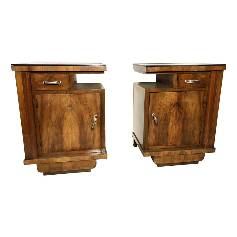 1930's Pair of Original Italian Deco Nightstands Walnut, Black Glass For Sale