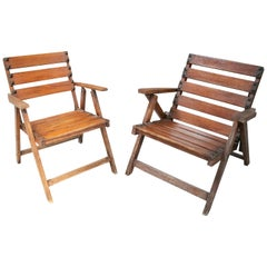 1930s Pair of Spanish Wooden Garden Armchairs