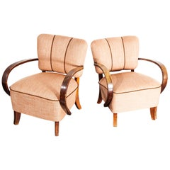 1930s Pair of Upholstered Armchairs by Jindrich Halabala '2'