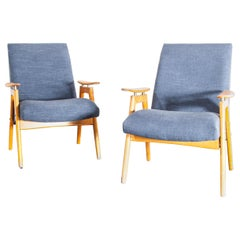 1930s Pair Of Upholstered Armchairs by Jindrich Halabala, Light Blue