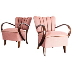1930s Pair of Upholstered Armchairs by Jindrich Halabala