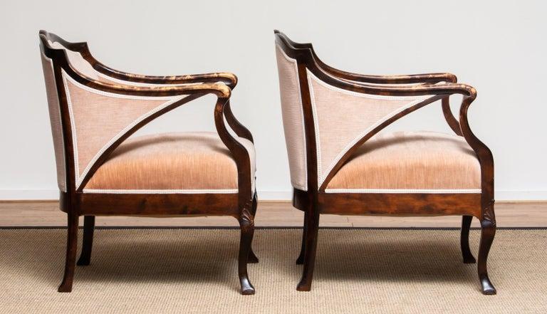 1930s Pair Scandinavian Velvet Art Nouveau Easy / Armchairs after Fritz Hennings 8