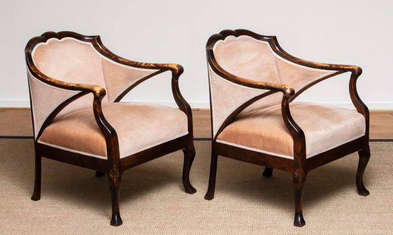1930s Pair Scandinavian Velvet Art Nouveau Easy / Armchairs after Fritz Hennings 10
