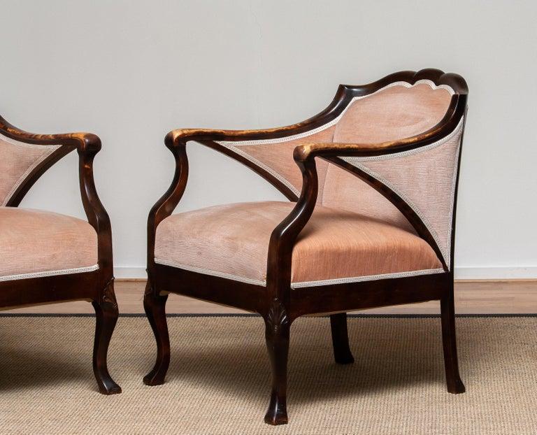 1930s Pair Scandinavian Velvet Art Nouveau Easy / Armchairs after Fritz Hennings In Good Condition In Silvolde, Gelderland