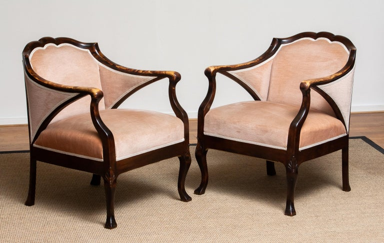 Mid-20th Century 1930s Pair Scandinavian Velvet Art Nouveau Easy / Armchairs after Fritz Hennings