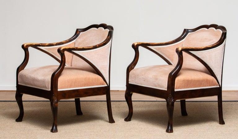 1930s Pair Scandinavian Velvet Art Nouveau Easy / Armchairs after Fritz Hennings 1