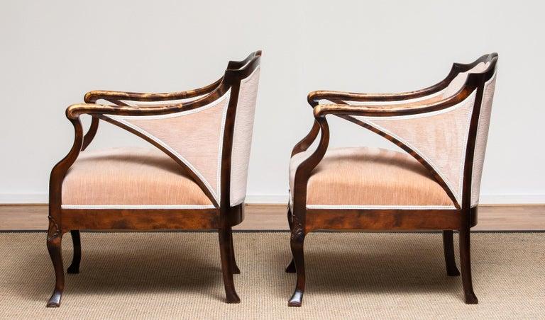 1930s Pair Scandinavian Velvet Art Nouveau Easy / Armchairs after Fritz Hennings 2
