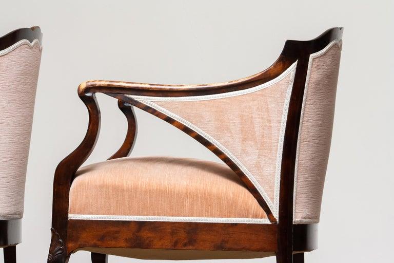 1930s Pair Scandinavian Velvet Art Nouveau Easy / Armchairs after Fritz Hennings 3