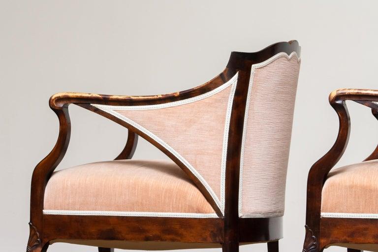 1930s Pair Scandinavian Velvet Art Nouveau Easy / Armchairs after Fritz Hennings 4