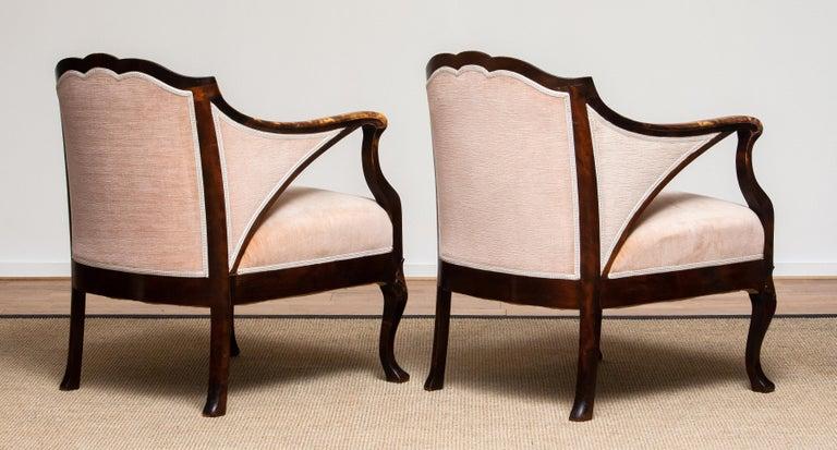 1930s Pair Scandinavian Velvet Art Nouveau Easy / Armchairs after Fritz Hennings 5