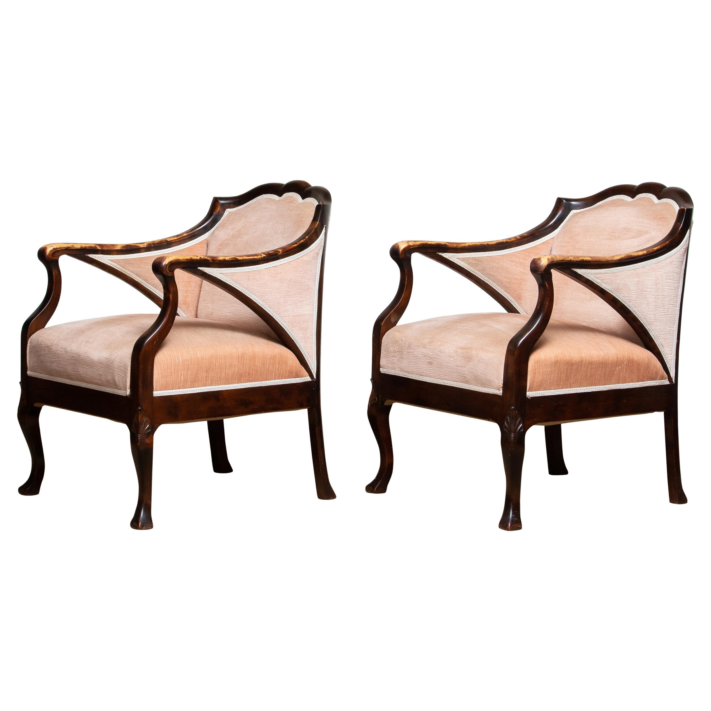 1930s Pair Scandinavian Velvet Art Nouveau Easy / Armchairs after Fritz Hennings