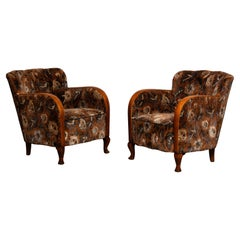 1930's Pair Swedish Art Deco Club Chairs with Floral Rust Jacquard Velvet