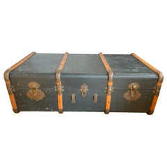 1930s Parchment Leather Large Suitcase, Paris / Lausanne