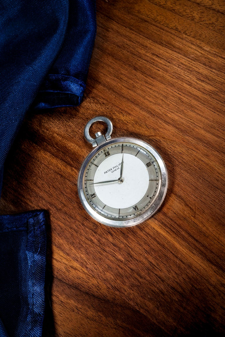 1930s Patek Philippe Platinum Two-Tone Sector Enamel Dial Open Face Pocket Watch For Sale 6