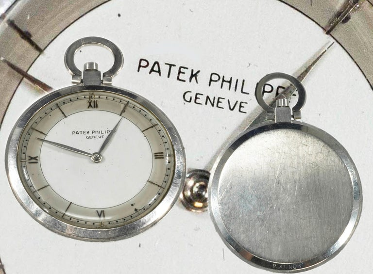 1930s Patek Philippe Platinum Two-Tone Sector Enamel Dial Open Face Pocket Watch For Sale 7