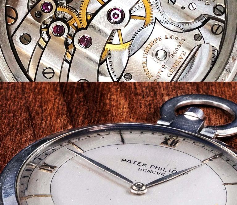 Art Deco 1930s Patek Philippe Platinum Two-Tone Sector Enamel Dial Open Face Pocket Watch For Sale