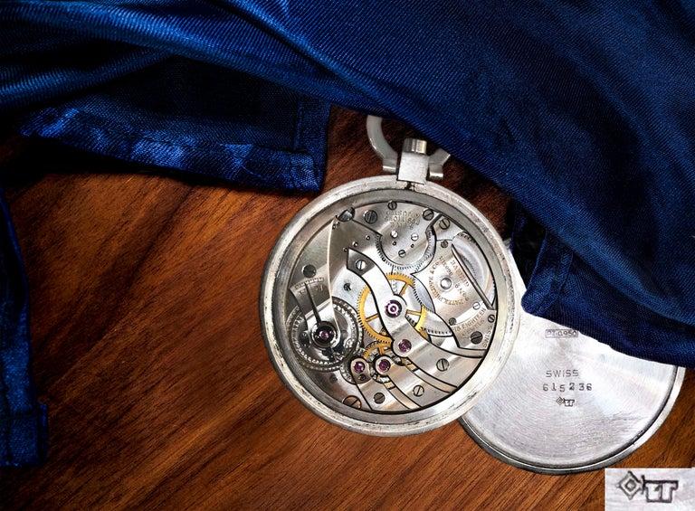 Women's or Men's 1930s Patek Philippe Platinum Two-Tone Sector Enamel Dial Open Face Pocket Watch For Sale