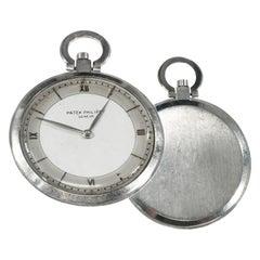 1930s Patek Philippe Platinum Two-Tone Sector Enamel Dial Open Face Pocket Watch