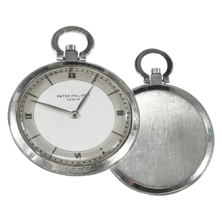 1930s Patek Philippe Platinum Two-Tone Sector Enamel Dial Open Face Pocket Watch For Sale