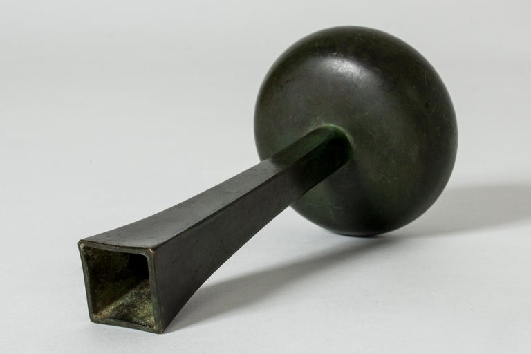 Scandinavian Modern 1930s Patinated Bronze Vase from GAB For Sale