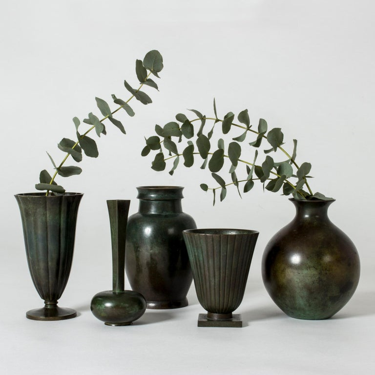 1930s Patinated Bronze Vase from GAB For Sale 1