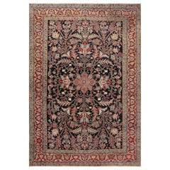 1930s Persian Heriz Handmade Wool Rug in Beige, Blue, Brown, Pink and Red