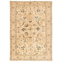 1930s Persian Kirman Handmade Wool Rug in Camel, Light Brown and Indigo Blue