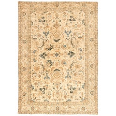 1930s Persian Kirman Handmade Wool Rug in Camel, Light Brown and Indigo Blue