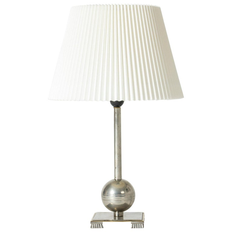 1930s Pewter Table Lamp by Einar Bäckström For Sale