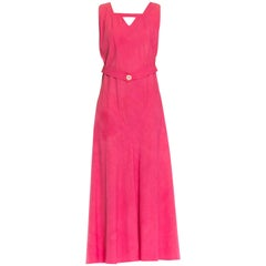 1930S Pink Bias Cut Cotton Ottoman Dress With Out Back