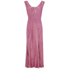 1930s Pink / Purple Full Length Lame Flapper Dress