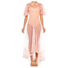 1930S Pink Sheer Rayon Net Gown With Puff Sleeves