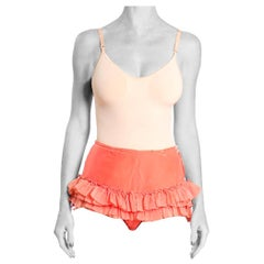 1960S Coral Silk Old Theater Ruffled Showgirl Tap Shorts Lined In Cotton