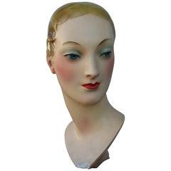 1930s Plaster Mannequin Head Art Deco # 181