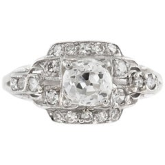 1930s Plat Engagement Ring with Center Round Diamond