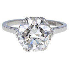 1930s White Gold 3.29 Carat Brilliant-Cut Diamond Solitaire Engagement Ring