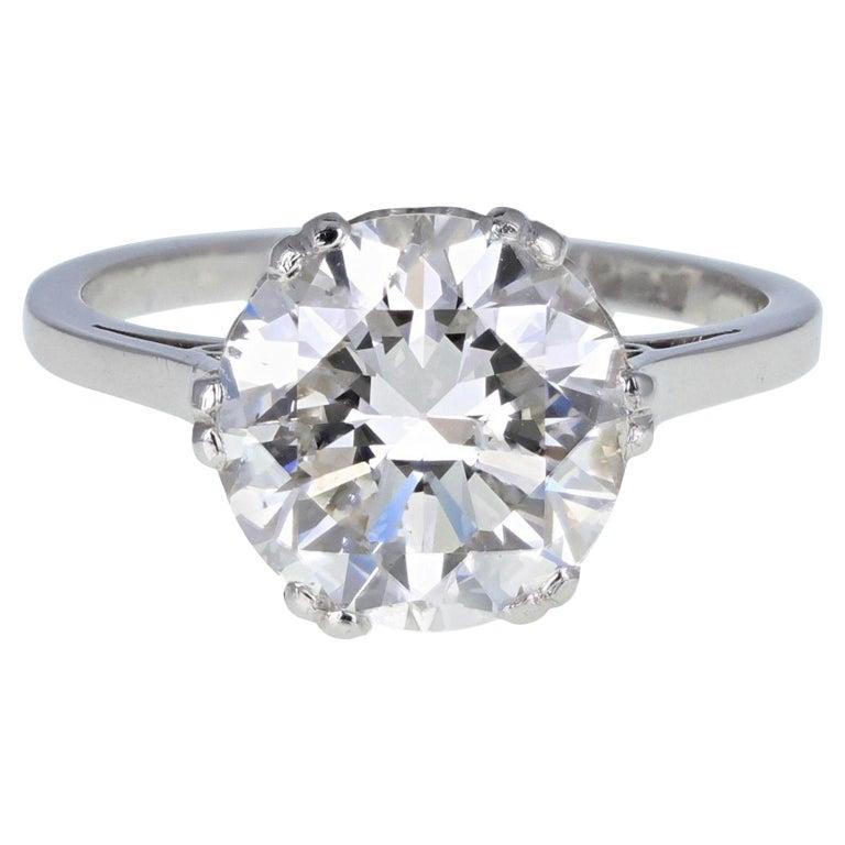 1930s Platinum 18 Carat White Gold 3.29 Carat Brilliant Cut Diamond Solitaire For Sale