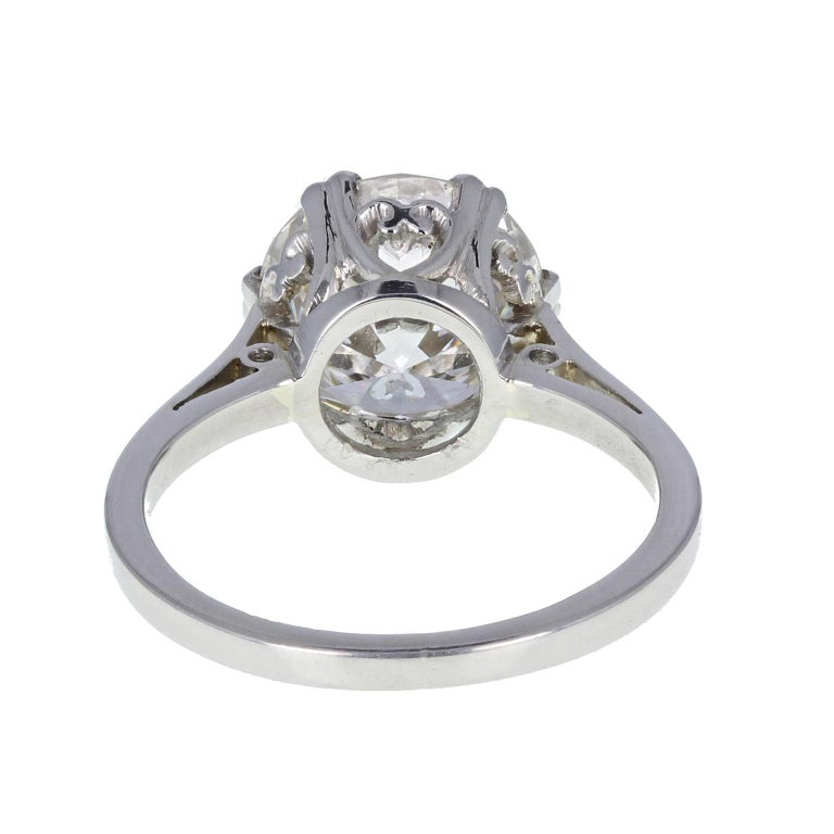 1930s Platinum 18 Carat White Gold 3.29 Carat Brilliant Cut Diamond Solitaire In Excellent Condition For Sale In Newcastle Upon Tyne, GB