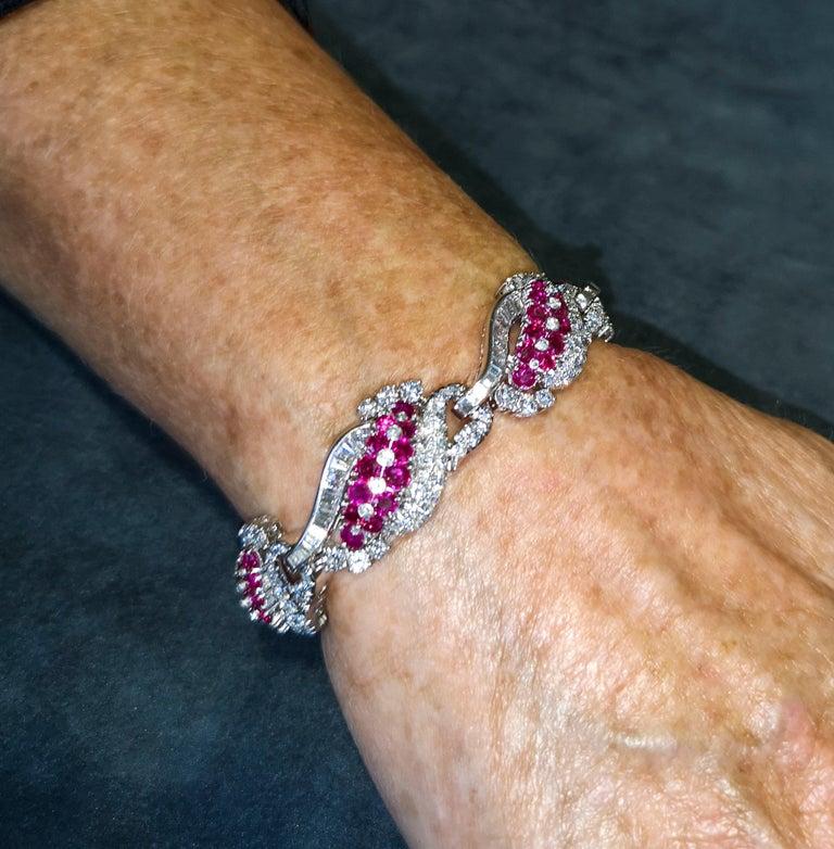 Art Deco 1930s Platinum Burma Ruby Diamond Bracelet For Sale