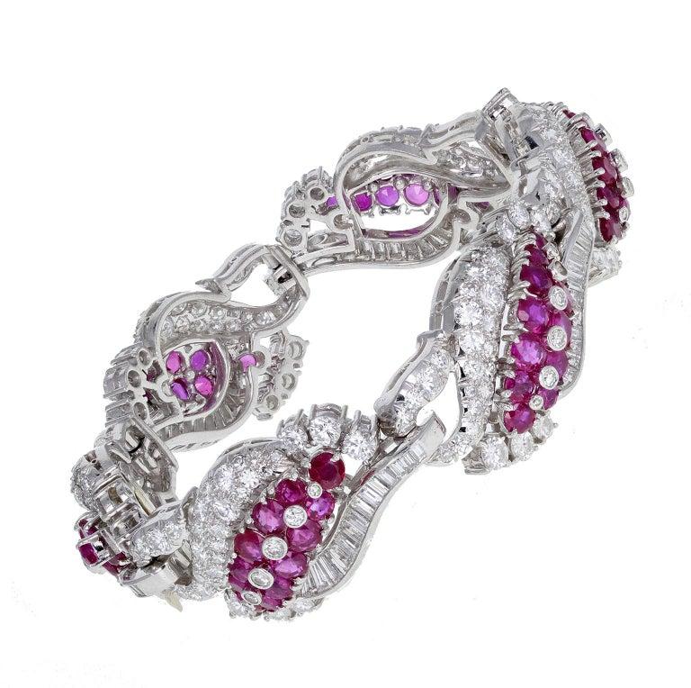 Round Cut 1930s Platinum Burma Ruby Diamond Bracelet For Sale
