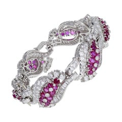 1930s Platinum Burma Ruby Diamond Bracelet