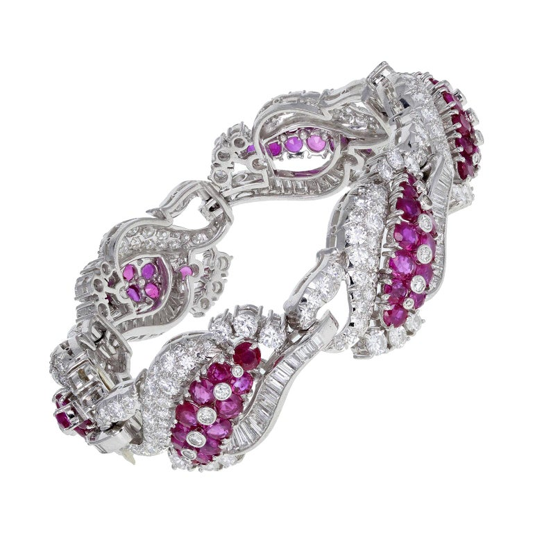 1930s Platinum Burma Ruby Diamond Bracelet For Sale