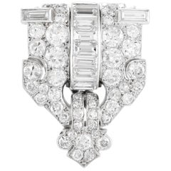 1930s Platinum Double Clip with Diamonds