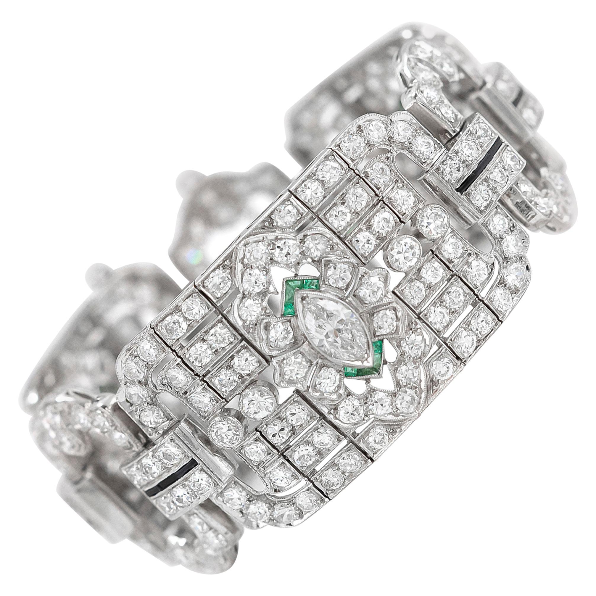 1930s Platinum Emerald Diamond and Onyx Bracelet