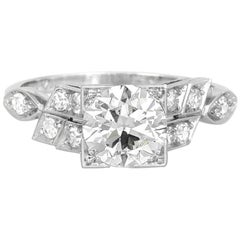 1930s Platinum Engagement Ring with 1.00 Round Diamond